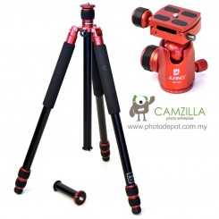 Jusino AX-253 Ruby Red Professional Traveller Series 3-Sections Tripod (Max Load 12kg) with BT-02 Professional Ballhead with Arca Swiss Quick Release System (QR Plate Included) (Max Load 15kg)