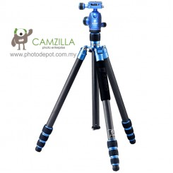 Jusino AX-254 Blue Professional Traveller Series 4-Sections Tripod (Max Load 12kg) with BT-02 Professional Ballhead with Arca Swiss Quick Release System (QR Plate Included) (Max Load 15kg)