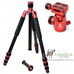 Jusino AX-254 Ruby Red Professional Traveller Series 4-Sections Tripod (Max Load 12kg) with BT-02 Professional Ballhead with Arca Swiss Quick Release System (QR Plate Included) (Max Load 15kg)