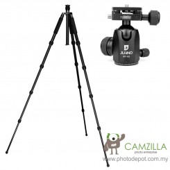 Jusino AX-255 Black Professional Traveller Series 5-Sections Tripod (Max Load 12kg) with BT-02 Professional Ballhead with Arca Swiss Quick Release System (QR Plate Included) (Max Load 15kg)