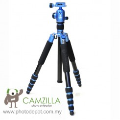 Jusino AX-255 Lightning Blue Professional Traveller Series 5-Sections Tripod (Max Load 12kg) with BT-02 Professional Ballhead with Arca Swiss Quick Release System (QR Plate Included) (Max Load 15kg)