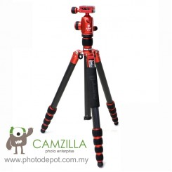 Jusino AX-255 Ruby Red Professional Traveller Series 5-Sections Tripod (Max Load 12kg) with BT-02 Professional Ballhead with Arca Swiss Quick Release System (QR Plate Included) (Max Load 15kg)