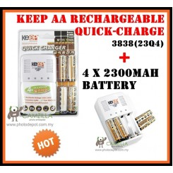 KEEP AA RECHARGEABLE QUICK CHARGE EP-3838(23Q4) + 4 X 2300MAH BATTERY