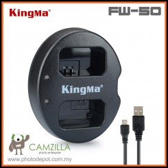 Kingma Dual USB Battery Charger for Sony NP-FW50 - A5000 A5100 A6000 A6300 A6500 A7 A7ii A7Rii A7Sii