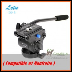Letu LS-4 Fluid Video Head with Quick Release Plate Manfrotto Tripod Compatible