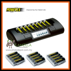 Maha PowerEx MH-C801D + PowerEx 2700mAh AA Batteries (12 pcs)