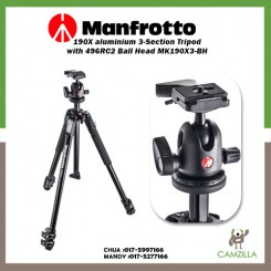 Manfrotto 190X aluminium 3-Section Tripod with 496RC2 Ball Head MK190X3-BH