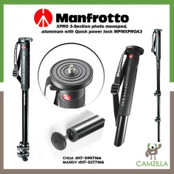 Manfrotto  XPRO 3-Section photo monopod, aluminum with Quick power lock MPMXPROA3