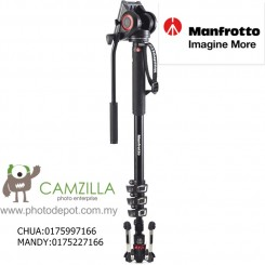 MANFROTTO MVMXPRO500 4 SECTION VIDEO MONOPOD W FLUID HEAD & FLUIDTECH BASE