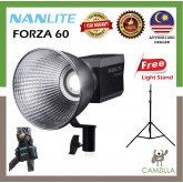 NANLITE Forza 60W 5600K Photography Portable Outdoor LED Monolight COB Light ( Free* 2 meter Light stand )
