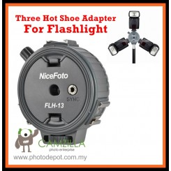 NiceFoto FLH-13 One Sync Socket to Three Hot Shoe Adapter for Flashlight