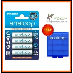 Panasonic eneloop AA 2000 mAh Rechargeable Batteries, Pre-charged, Previously Sanyo. 4 PCS