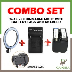 Combo Buy RL-18 LED Ring Light 5500K Photography Dimmable Ring Lamp, runs on direct current and battery + Battery Charger + Battery