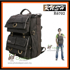 Rush R6702 Waterproof DSLR SLR Bag Canvas Camera Rucksack Backpacks 15'' Laptop Bag