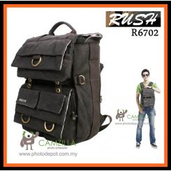 Rush R6702 Waterproof DSLR SLR Bag Canvas Camera Rucksack Backpacks 15'' Laptop Bag