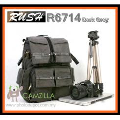 RUSH R6714 Professional SLR Double-shoulder camera bag backpack - DARK GREY