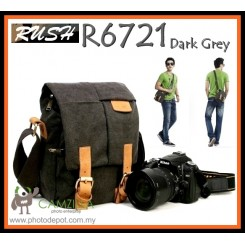 Rush R6721 Casual Vintage Canvas DSLR Camera Bag Free Rain Cover - Dark Grey