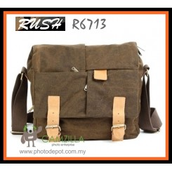 RUSH R6723 Canvas DSLR Camera Bag Shoulder Messenger Bag - Brown
