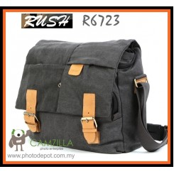 RUSH R6723 Canvas DSLR Camera Bag Shoulder Messenger Bag - Dark Grey