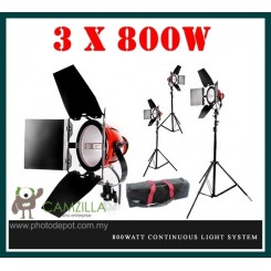 Camzilla 3 x 800W Red Head Continuous Light System - with bag & stand