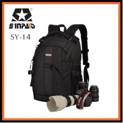 Sinpaid SY-14 Dslr SLR Camera Backpack Bag Case Travel Laptop Bag (Black)
