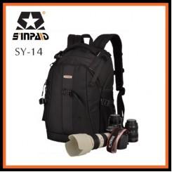 Sinpaid SY-14 Dslr SLR Camera Backpack Bag Case Travel Laptop Bag (Black)