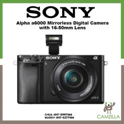 SONY Alpha α6000 E-mount Mirrorless Camera ( White / Graphite Gray / Silver / Black ) + 16-50mm Power Zoom Lens