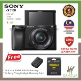 Sony Alpha a6100 Mirrorless Digital Camera with 16-50mm Lenses Free 64gb Tough Memory Card & Extra FW50 Battery