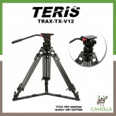 Teris TX-V12 Professional Tripod with Fluid Head 100mm bowl Load 12KG for Video camcorder tripod HDV Film RED Scarlet Epic