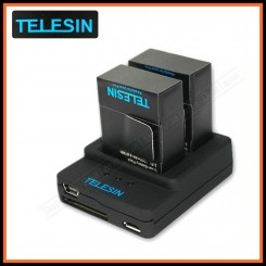Telesin 2slot Charger + 2 x 1300mah Li-ion Battery for Gopro Hero 3/3+