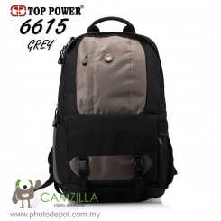 "Top Power 6615 -GREY Digital SLR Camera Backpack Laptop 14"" & Rain Cover"
