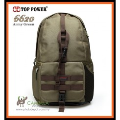 Top Power 6620 DSLR Camera Bag ,Backpack , Water Resistant - Army Green