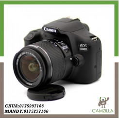 USED CANON 1300D BODY WITH KIT LENS AND FULL BOX *UNDER WARRANTY