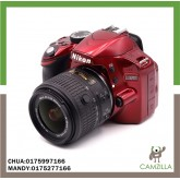 USED NIKON D3200 red version BODY SC:18K WITH NIKON LENS AF-S 18-55mm 1:3.5-5.6 G II