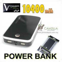 V-Power 10400mah Power Bank For I Phone , IPAD , SAMSUNG - Black