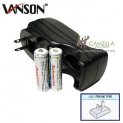 Vanson V-2833 Compact Charger with 2AA 2000 mAh NiMH Rechargeable Batteries Compact Foldable Plus Charger for 2 or 4 Pcs Size AA, AAA Ni-Cd and Ni-MH Battery