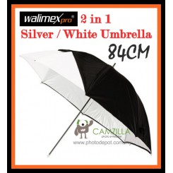 Walimex 2 in 1 Silver Reflex / Soft White Umbrella - 84CM