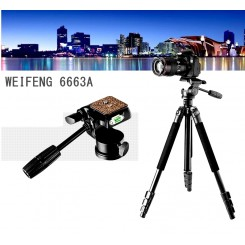 WEIFENG WF-6663A Camera Tripod 4-Sections Leg with 3-Way Head