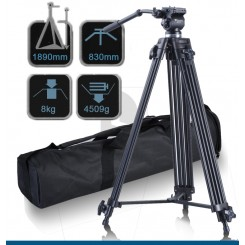 Fancier WF-717 Professional Heavy Duty Video Camcorder 189 CM Tripod + Fluid Video Head Kit