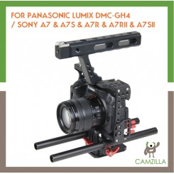 YELANGU YLG0904A-B HANDLE VIDEO CAMERA CAGE STABILIZER FOR PANASONIC LUMIX DMC-GH4 / SONY A7 & A7S & A7R & A7RII & A7SII (RED)