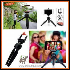 YunTeng 228 Mini Tripod with Phone Holder Clip Hand Grip Tripod Monopod For DSLR Cell Phone GoPro