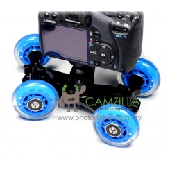 TableTop Compact Dolly Kit Skater Wheel Camera Truck Stabilizer - Blue