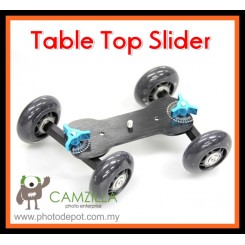 TableTop Compact Dolly Kit Skater Wheel Camera Truck Stabilizer - Black