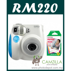 Fujifilm Instax Mini 7S Instant Film Camera Body (Blue) + Film Promo Bundle