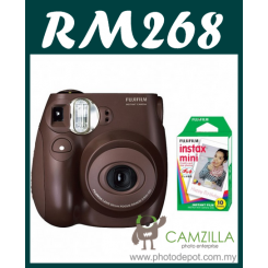 Fujifilm Instax Mini 7S Instant Film Camera Body (Brown) + Film Promo Bundle