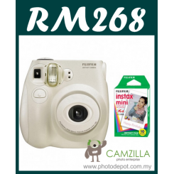 Fujifilm Instax Mini 7S Instant Film Camera Body (White) + Film Promo Bundle