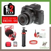 (Youtuber Set) Canon EOS M50 with 15-45mm Lens (Black) (Canon Malaysia) (FREE 32GB Memory Card & Canon Bag) (PACKAGE INCLUDES Video Microphone & Gizomos Mini Tripod) (Online Redeem RM200 Cashback)