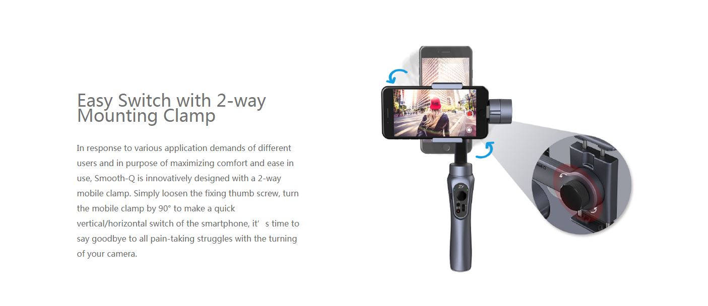 Zhiyun Tech Smooth Q Smartphone Gimbal Jet Black For Up To 78 Ounce Smartphones